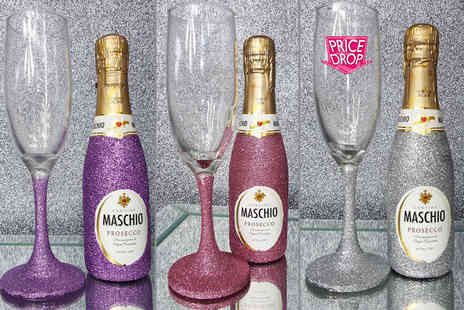 Bottle Bling - Mini glitter bottle of Prosecco and matching glass set  - Save 52%