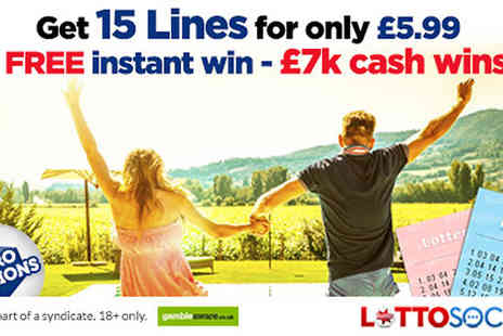 Lottosocial - Syndicated Lotto or EuroMillion Lotto Tickets 15, 40 or 80 Lines - Save 0%