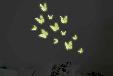 Walplus - 3D Glow In The Dark Butterfly Stickers - Save 56%