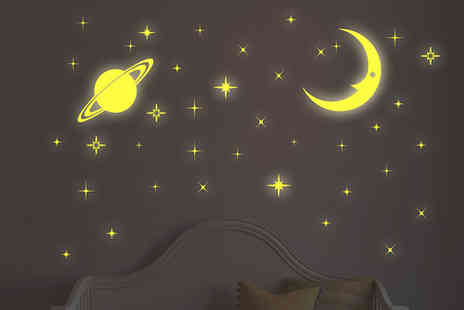 Walplus - Glow in The Dark Moon and Star Stickers - Save 50%