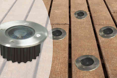 Home and Kitchen Direct - Solar LED Decking Lights One or Four - Save 67%