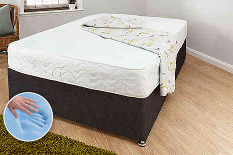 GFW -  Single, double, small double or king size Cool Blue tufted Bonnell spring mattress - Save 64%