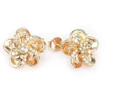 Bijou Amour - Set of rose gold plated zirconia flower stud earrings - Save 84%