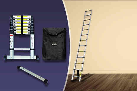 Product Mania - 3.8m aluminium extendible multi purpose ladder, with free carry on bag and safety stabiliser - Save 67%
