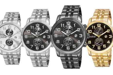 Groupon Goods Global GmbH - August Steiner Mens Swiss Quartz Dual Time Bracelet Watch in Choice of Design - Save 0%