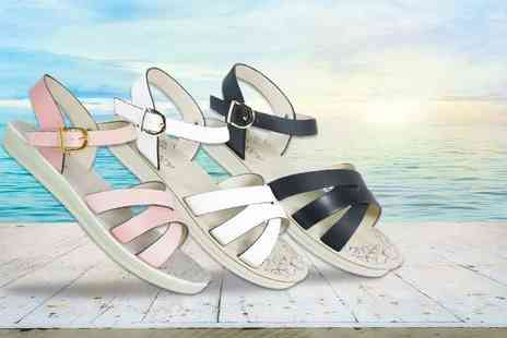 MY UL - Pair of cross strap leather look sandals choose black, white or pink  - Save 46%