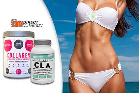 Direct Nutrition - One month supply of collagen drink mix and CLA softgel capsules - Save 27%
