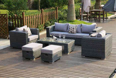 Dreams Living - Seven seater rattan sofa set, in a choice of three colours - Save 50%