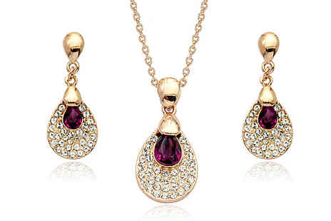 Cocobury - 18K Gold Plated Austria Crystal Set - Save 73%