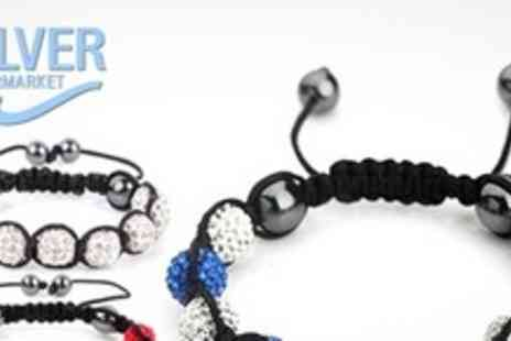 Silver Supermarket - Two Shamballa Style Crystal Beaded Bracelets - Save 86%