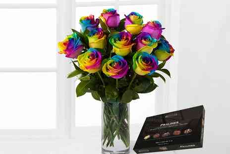 flowers delivery 4 u - Rainbow Roses and Chocolates 6 Flower or 12 Flower Bouquet - Save 0%