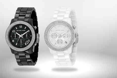 Wowcher Direct - Michael Kors ceramic chronograph watch in black or white Plus Delivery Included - Save 55%