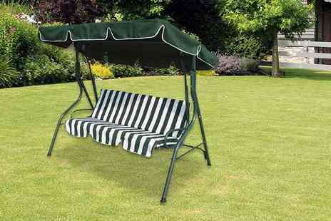 Electrical Europe - Zexum three seater green and white swing garden chair - Save 59%