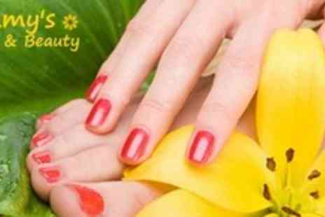 Amys Nails & Beauty - Luxury Manicure or Pedicure With Shellac Polish - Save 72%