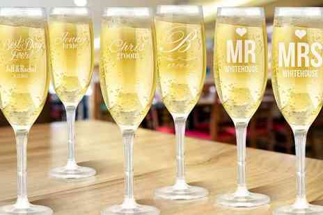 Mini Box - One, Two or Four Personalised Champagne Glasses - Save 67%