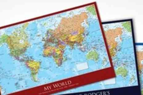 Maps International - Personalised Laminated Wall Map With Board Mount And Pins - Save 50%
