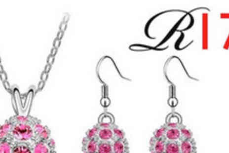 Reignz 17 - Spangly Shamballa Pendant and Earring Set - Save 70%