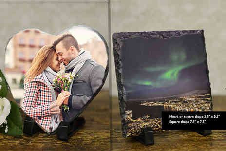 Your Perfect Canvas - Personalised photo slate choose from heart, square and two sizes of rectangle designs - Save 82%