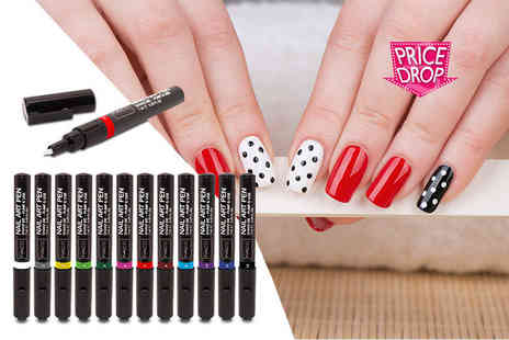 Smile Science - 12 piece nail design pen set in a wide range of colours - Save 60%