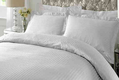Adam Linens - White 100% Cotton Satin Strip Duvet Cover and Pillow Case Set - Save 0%
