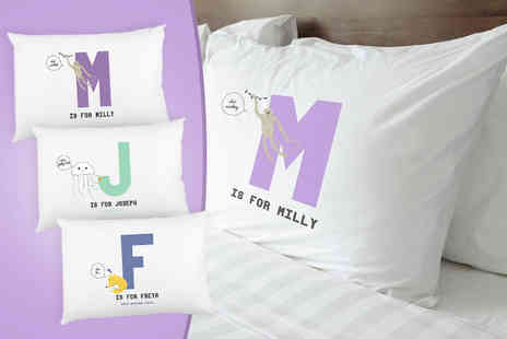 Prints With Feelings - Kids personalised animal initial pillowcase - Save 72%