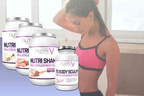 Wowcher Direct - Nutri V meal replacement shake powder and 60 T5 fat burner tablets choose from vanilla, chocolate and strawberry flavours - Save 72%
