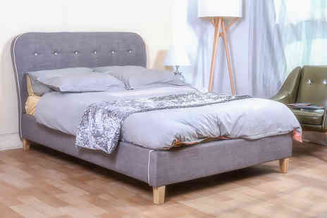FTA Furnishing - Single, small double or double size grey Cairo fabric bed - Save 60%
