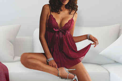 Bazaar me - Red Lace Babydoll Nightwear - Save 80%