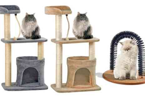 Groupon Goods Global GmbH - Large Cat Tree and Grooming Arch in Choice of Colours - Save 61%