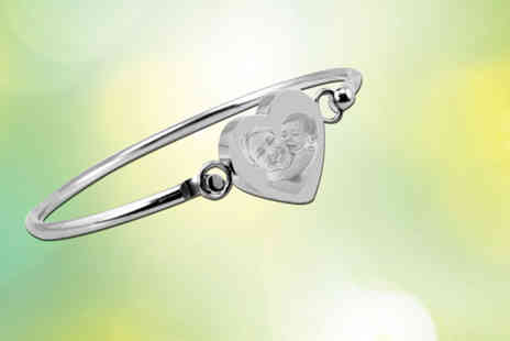 British Gem - Stainless steel personalised heart bangle - Save 71%