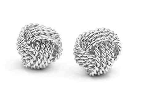 Trendy Banana - 18K White Gold Plated Goddess Knotted Earrings - Save 80%