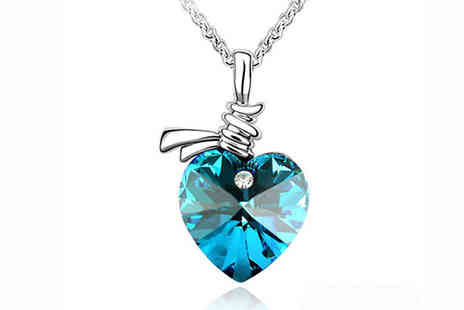 Bentleys Bargain Warehouse - Blue Crystal Heart Necklace - Save 0%