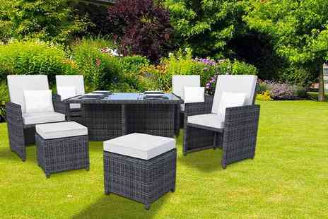 Kennings Building Supplies - Ledbury nine piece rattan cube set in black or brown with white or beige covers - Save 66%