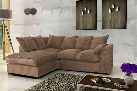 Abakus Direct - Jumbo corner sofa choose from brown or grey, right or left chaise - Save 53%
