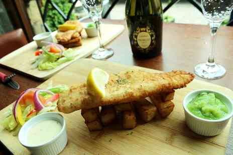 The Mitre Hotel - Fish and chips with a bottle of Prosecco or wine for two - Save 64%