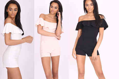The Fashion City - Bardot cold shoulder playsuit choose black, white or beige - Save 70%