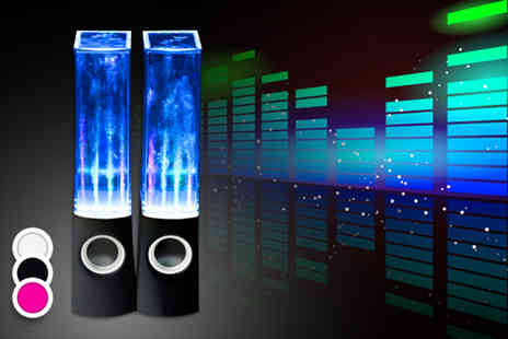 Chimp Electronics - Pair of dancing water speakers choose from black, white or pink - Save 0%