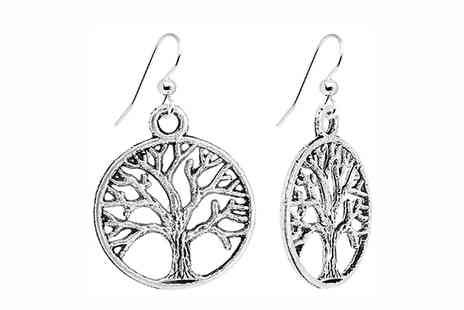 Bentleys Bargain Warehouse - Silver Plated Tree of Life Earrings - Save 0%
