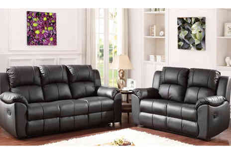 Sit Down Sooner - Leather reclining sofa set choose black or brown - Save 56%