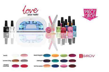 Gruv France - Nine piece UV nail kit including a UV lamp and two polishes - Save 68%