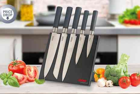 Groupon Goods Global GmbH - Cooks Professional Five Piece Knife Set With Magnetic Block - Save 73%