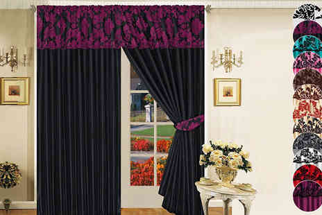 Rynz Collection - Flock Pattern Curtain in 12 Colours - Save 8%