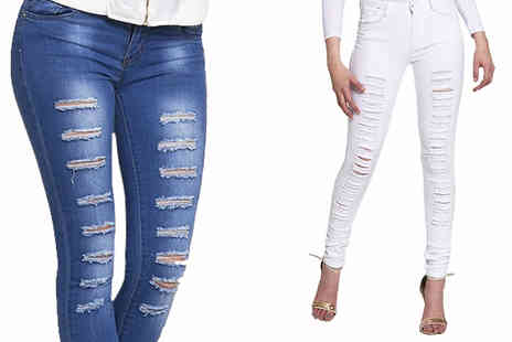 The Fashion City - Womens Ripped Skinny Jeans in 2 Colours - Save 67%