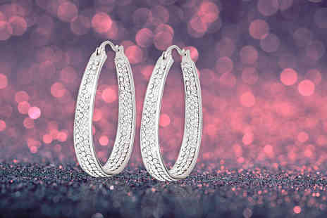 Evoked Design - Pair of inside out hoop earrings made with crystals - Save 91%