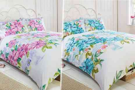 Linens R Us - Single, double or king size botanical gardens duvet cover set choose pink or blue - Save 67%