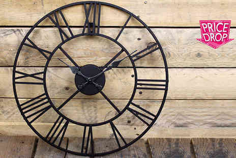 Funky Buys - 40cm or 60cm metal Roman numeral clock - Save 70%
