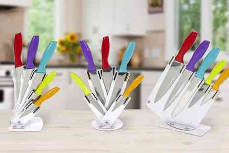 Groupon Goods Global GmbH - Cook in Colour Five Piece Knife Set in Acrylic Stand in Three Different Styles - Save 65%