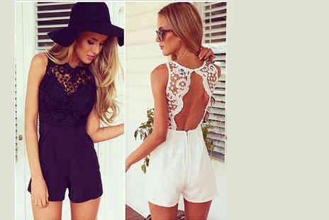 Bluebell Retail - Crochet detail playsuit choose black or white - Save 74%