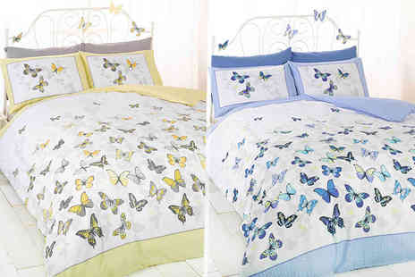 Linens R Us - Single, double or king size flutter duvet set choose either pink, lemon, blue or green - Save 71%