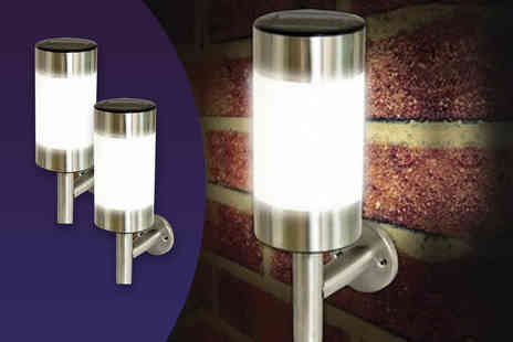 DUK - Pack of two stainless steel solar wall lights - Save 81%
